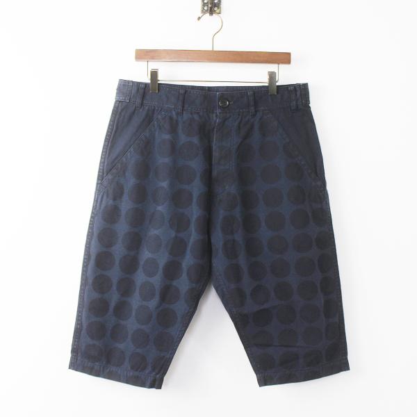 COMME des GARCONS SHIRT コムデギャルソンシャツ ドットプリント ハーフ パンツ XS/メンズ ネイビー 半端丈【2400011194466】