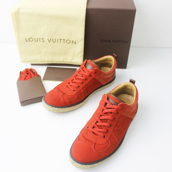Louis Vuitton ルイヴィトン 2014SS LVロゴ キャンバス スウェード コンビ 切替え エスパドリーユ スニーカー 6///レッド【2400011199577】