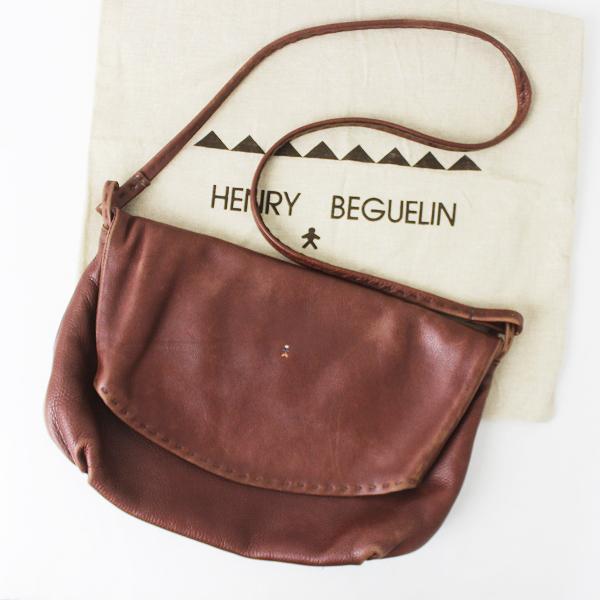 HENRY BEGUELIN エンリーベグリン オミノ 刺繍 レザー ショルダー バッグ/エンジ BAG カバン 斜めがけ【2400011201249】
