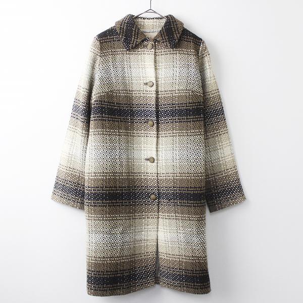 Sybilla シビラ ツイード ロング コート M/ベージュ×ブラウン アウター 上着 羽織り ロングスリーブ【2400011202840】