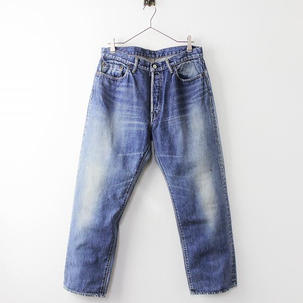 UNUSED アンユーズド UW0449 damaged denim pants ダメージ デニム パンツ 3/メンズ ブルー ボタンフライ ジーパン【2400011219596】