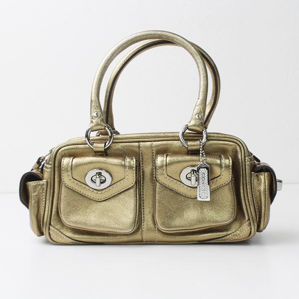 COACH コーチ メタリック レザー ミニ バッグ/ゴールド BAG 鞄 カバン ハンドバッグ 【2400011221506】