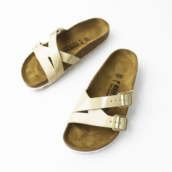 未使用品 BIRKENSTOCK ビルケンシュトック エナメル フラット サンダル 23.0/ベージュ 靴 くつ【2400011255372】