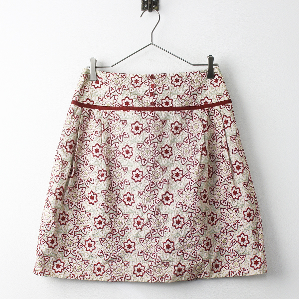 TOCCA トッカ 花 刺繍 タック スカート 4/レッド系 ボトムス フラワー【2400011256829】