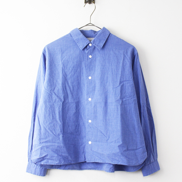 YAECA ヤエカ 2016 COMFORT SHIRT WIDE SHORT ワイドシャツ 161052 M/ブルー 青 無地 トップス 長袖【2400011261595】