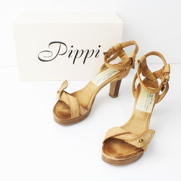 【期間限定30%OFF!】PIPPICHIC lady ピッピシック レディー スエード アンクルストラップ ヒール サンダル 36.5/ベージュ 靴 くつ【2400011264237】