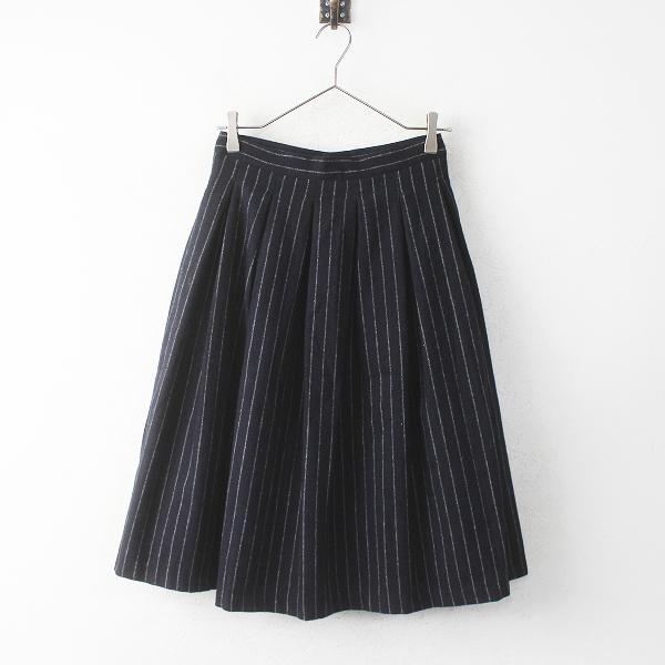 GRANDMA MAMA DAUGHTER グランマママドーター ウール ストライプ プリーツ スカート 0/ネイビー フレア【2400011269805】