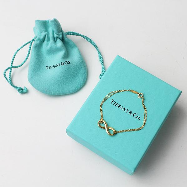 美品 定価10万 Tiffany & Co ティファニー 18K インフィニティ ブレスレット S ゴールド/イエローゴールド アクセサリー【2400011270948】