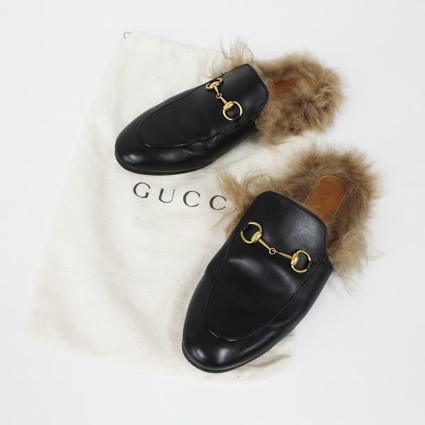 GUCCI グッチ プリンスタウン ファーレザー スリッパ 38/ブラック サンダル シューズ 靴【2400011275301】