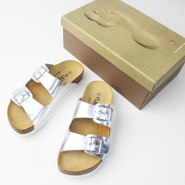 美品 PLAKTON プラクトン ダブル ベルト サンダル 37/シルバー シューズ 靴 フラット メタリック 【2400011276124】