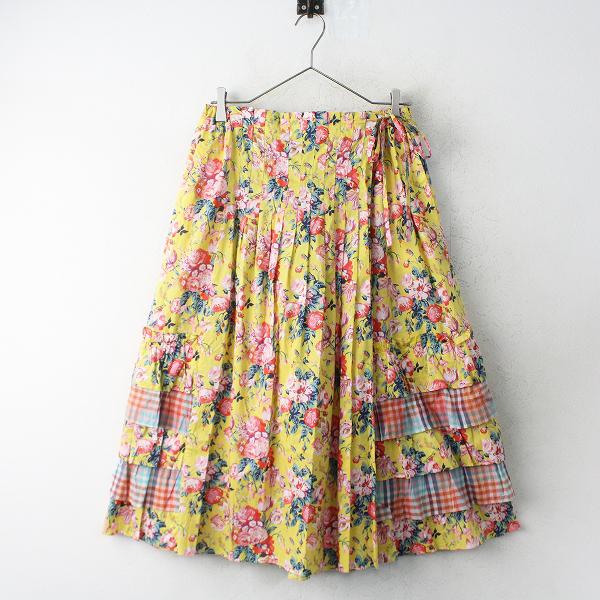 美品 定価3.1万 Jane Marple Dans Le Salon Magical bouquet フラワープリント フリルスカート M/イエロー 花柄【2400011281579】