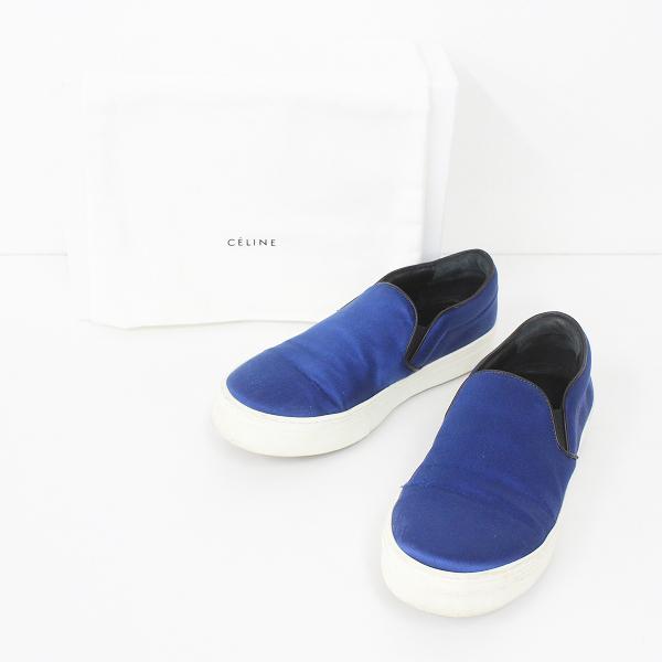 CELINE セリーヌ サテン スリッポン 36ハーフ///ブルー 靴 くつ フラット【2400011288615】