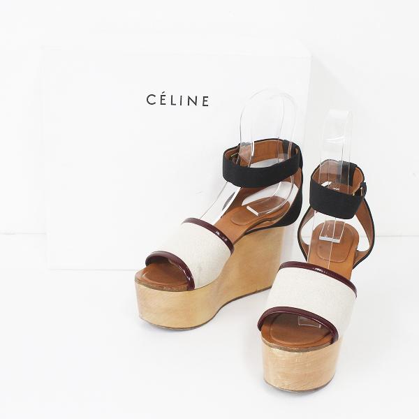 CELINE セリーヌ アンクルストラップ プラットフォーム ウッド サンダル 36(23.0相当)///靴 くつ シューズ【2400011288639】
