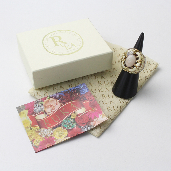 極美品 RUKA ルカ アンティーク パーツ クリア リング 天然石/ゴールド 小物 指輪【2400011289339】