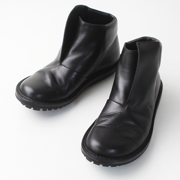 trippen トリッペン レザー アンクル ラップ ショート ブーツ 39/ブラック 黒 シューズ 靴 クツ【2400011289391】