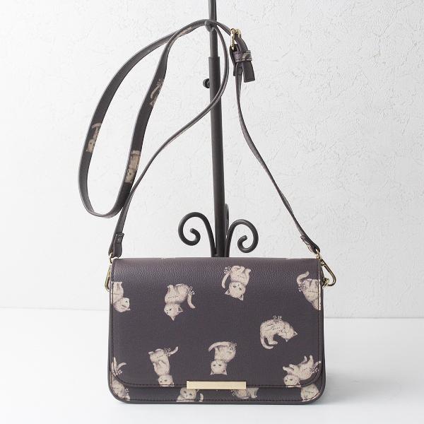 franche lippee フランシュリッペ ねこ柄 ショルダー バッグ/ブラウン 茶 鞄 カバン BAG【2400011298041】