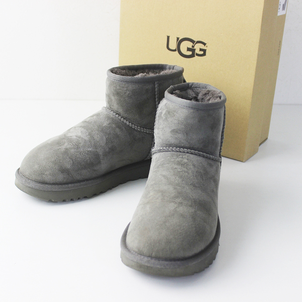 UGG australia アグ オーストラリア 1016222 W CLASSIC MINI 2 ムートン ブーツ 24.0cm/グレー ボア ショート クツ【2400011299246】