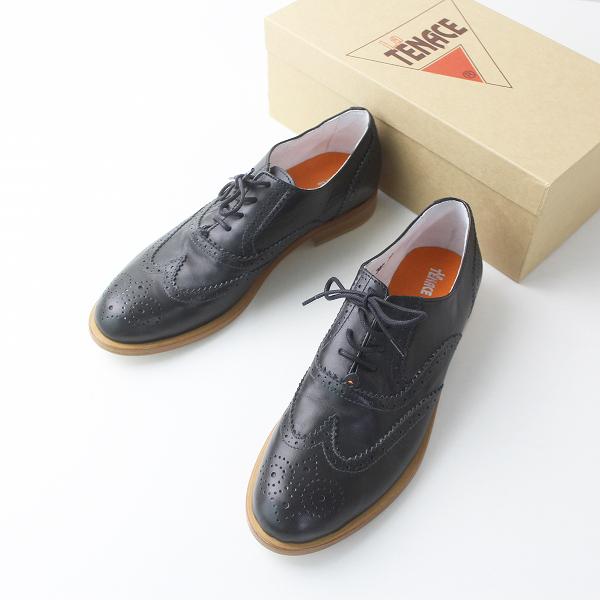 極美品 La TENACE ラ テナーチェ イタリア製 ウィングチップ レースアップ シューズ 38/ブラック シューズ 革靴 【2400011300577】