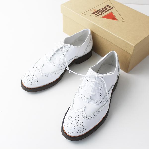 未使用品 La TENACE ラ テナーチェ イタリア製 ウィングチップ レースアップ シューズ 36/ホワイト シューズ 革靴 【2400011300584】