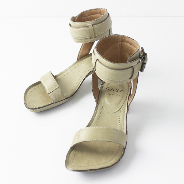 SAYA サヤ アンクルストラップ サンダル 23.0/ベージュ シューズ 靴 レザー 【2400011300928】