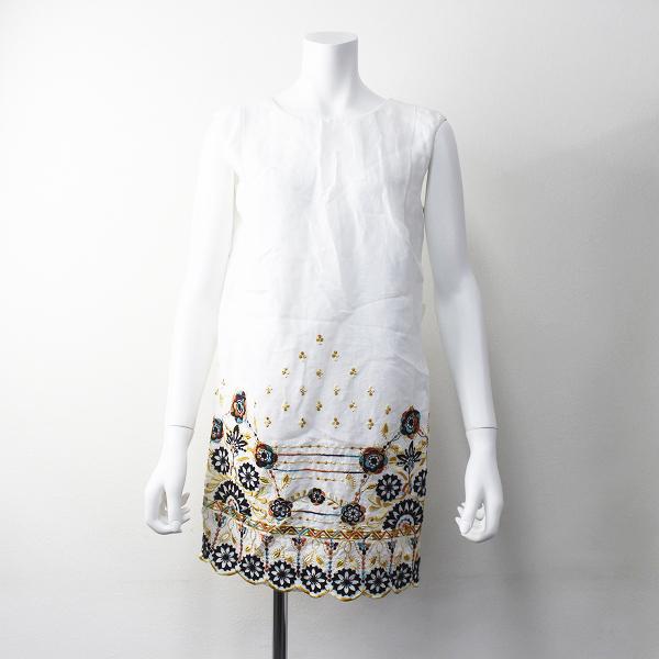 GRACE CONTINENTAL グレースコンチネンタル 刺繍 リネン ノースリーブ ワンピース 36 / ホワイト 花柄 【2400011301192】