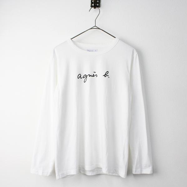 agnes b. アニエスベー ロゴプリント ロングスリーブ Tシャツ T2/トップス ホワイト カットソー【2400011304780】