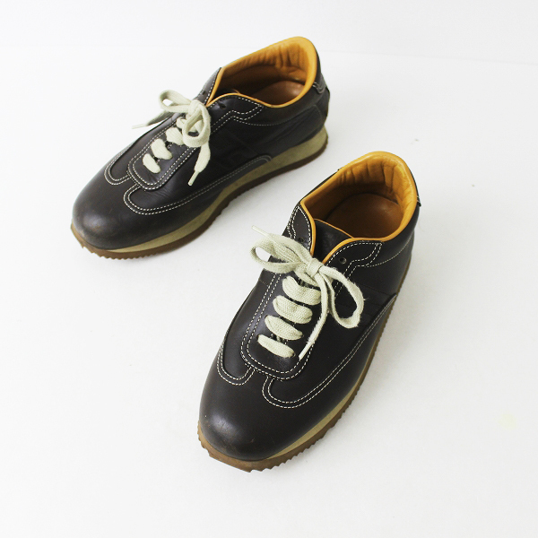 定番 人気 HERMES エルメス クイック レザー スニーカー 37 1/2 /// ブラウン シューズ 靴 クツ【2400011305367】
