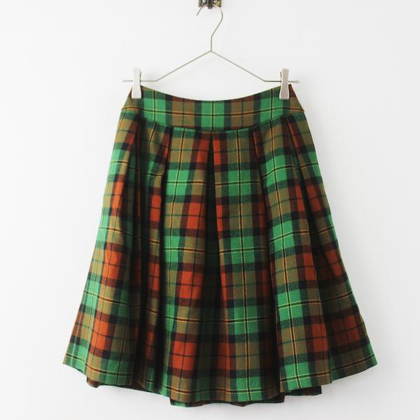 極美品 2018AW 定価2.7万 Jane Marple ジェーンマープル ウール タータンチェック スカート M/グリーン ボトムス 【2400011305848】