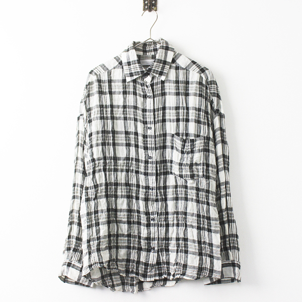 Deuxieme Classe ドゥーズィエム クラス チェック シャツ / ブラック×ホワイト 長袖 マドラス チェック 羽織り 【2400011306432】