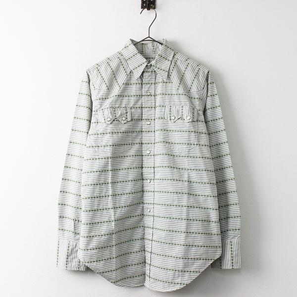 極美品 定価2万 ANATOMICA アナトミカ DOBBY CLOTH WESTERN SHIRT ドビー クロス ウエスタン シャツ XS/メンズ グリーン【2400011309471】