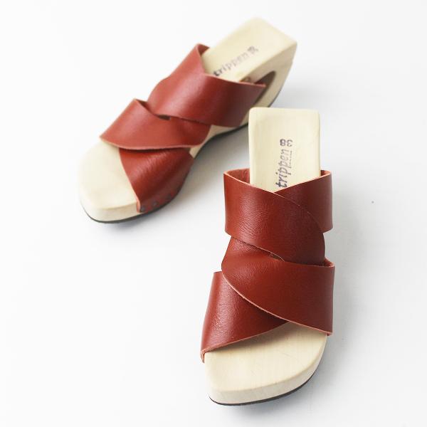 美品 trippen トリッペン クロス ストラップ ウッドソール サンダル 38/レッド 靴 くつ ローヒール【2400011310569】