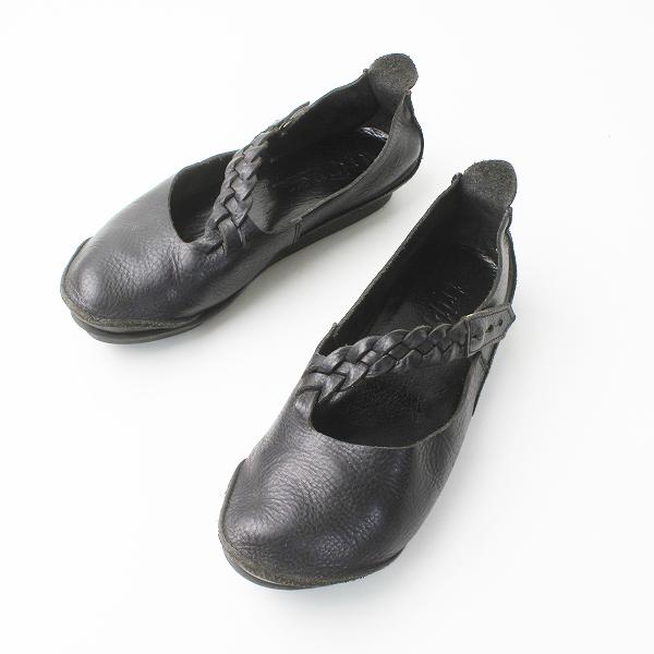 trippen トリッペン 斜めストラップ レザー シューズ 37/ブラック 靴 フラット【2400011311764】