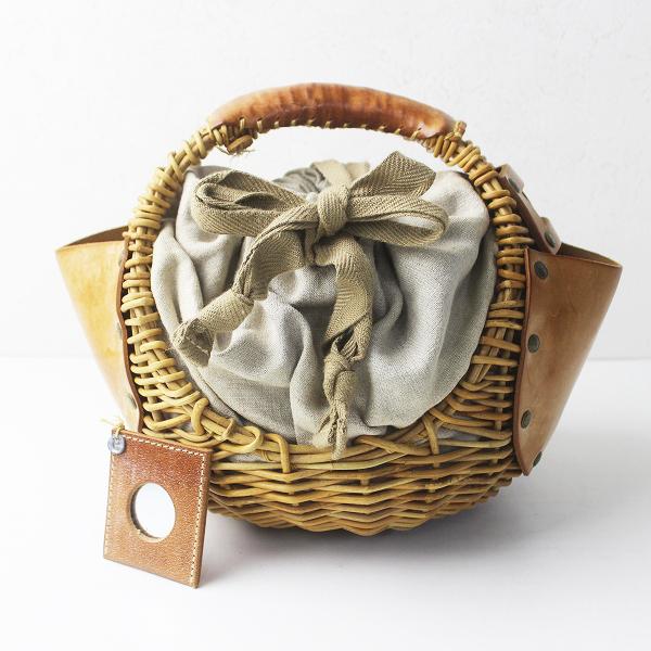 ebagos エバゴス チョコボール 丸型 ブライドルレザー X 紅藤 かごバッグ/ブラウン系 鞄 カバン かばん【2400011314628】