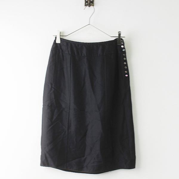海外並行品 LOUIS VUITTON ルイヴィトン シルク混み 薄手 スカート 38///ブラック 黒 ボトムス ひざ丈【2400011319784】