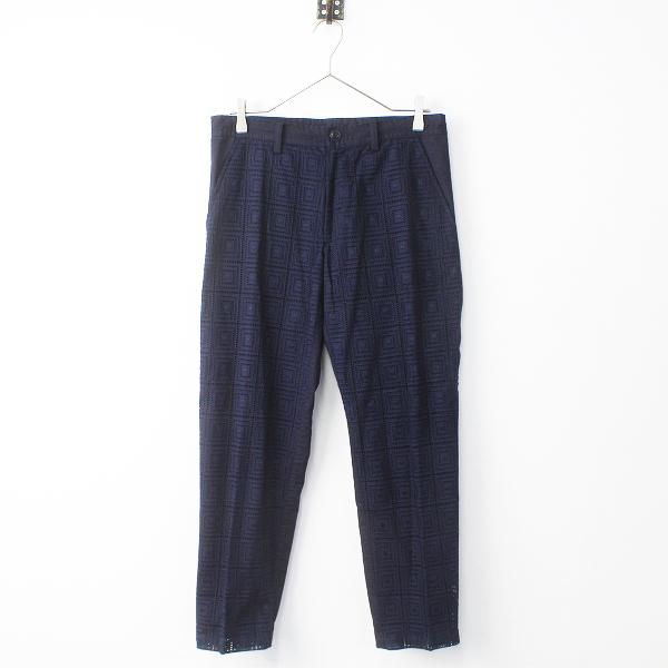 美品 Y's Yohji Yamamoto ワイズ ヨウジヤマモト 刺繍レース 切替 センタープレス パンツ 2/ネイビー ジップフライ+紐【2400011320629】