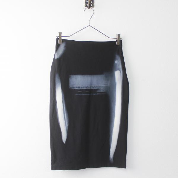 MM6 Maison Martin Margiela メゾンマルタンマルジェラ プリント ストレッチ スカート 40/ブラック ボトムス 【2400011321404】