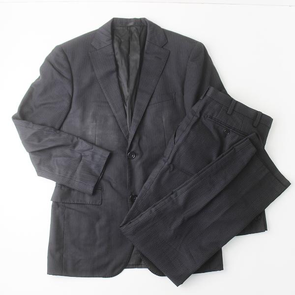 BURBERRY BLACK LABEL バーバリーブラックレーベル ウール ストライプ セットアップ スーツ///ブラック メンズ MENS 【2400011322517】