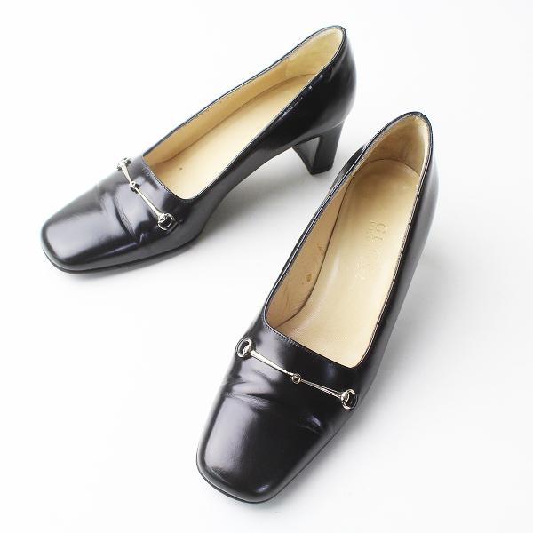 GUCCI グッチ ビットレザー パンプス 35///ブラック 靴 シューズ ローヒール【2400011326577】