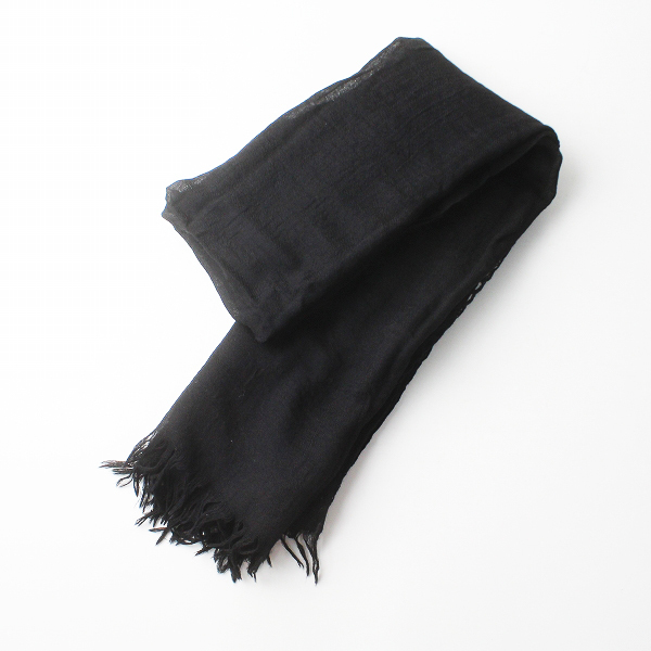 美品 Y's Yohji Yamamoto ワイズ ヨウジヤマモト メッシュ ウール 二重 オオバン ストール/ブラック 小物 ショール 【2400011327673】