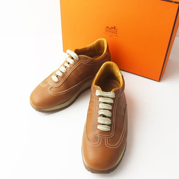 定番 HERMES エルメス クイック レザー スニーカー 38///ブラウン 靴 くつ フラット【2400011328182】