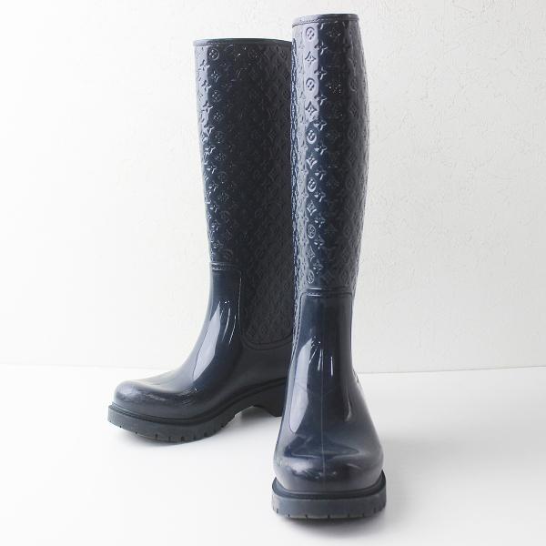 LOUIS VUITTON ルイヴィトン モノグラム スプラッシュ ライン レイン ブーツ 36///ネイビー 靴 長靴 シューズ【2400011328229】