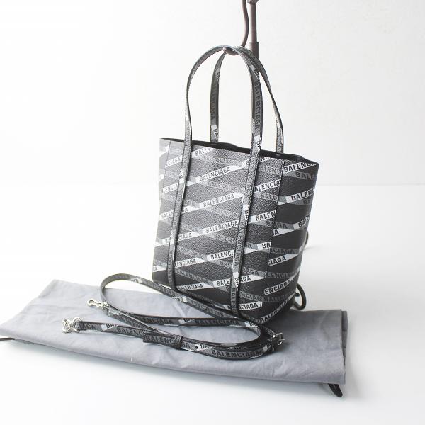 美品 BALENCIAGA バレンシアガ 2019 エブリディ モノグラム ロゴ 2WAY バッグ/ブラック 黒 鞄 かばん BAG【2400011329424】