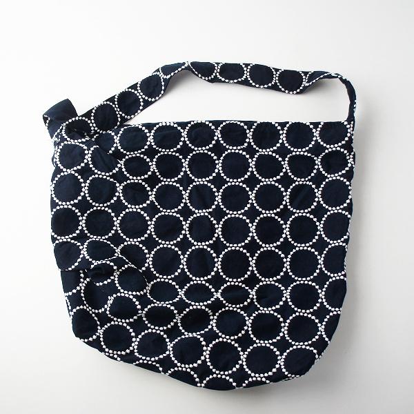 美品 mina perhonen ミナペルホネン tambourine 刺繍 ボディバッグ 大/ネイビー タンバリン ショルダー bag カバン【2400011331076】