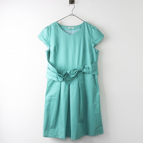 美品 大きいサイズ Rose Tiara ローズティアラ ウエストリボン プリーツ ワンピース 46/グリーン ドレス【2400011331724】