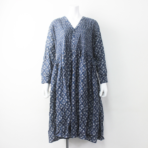 美品 2019SS 春夏 定価3.4万 maison de soil メゾンドソイル 80'S VOILE SQUARE FLOARE PRINT V-NECK DRESS 1【2400011336217】