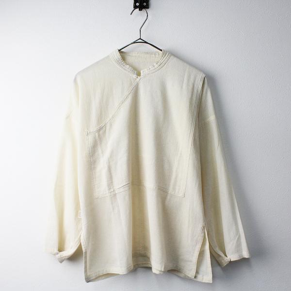 美品 USAATO うさと 手織り バンドカラー プルオーバー ブラウス/アイボリー 系 トップス【2400011337733】