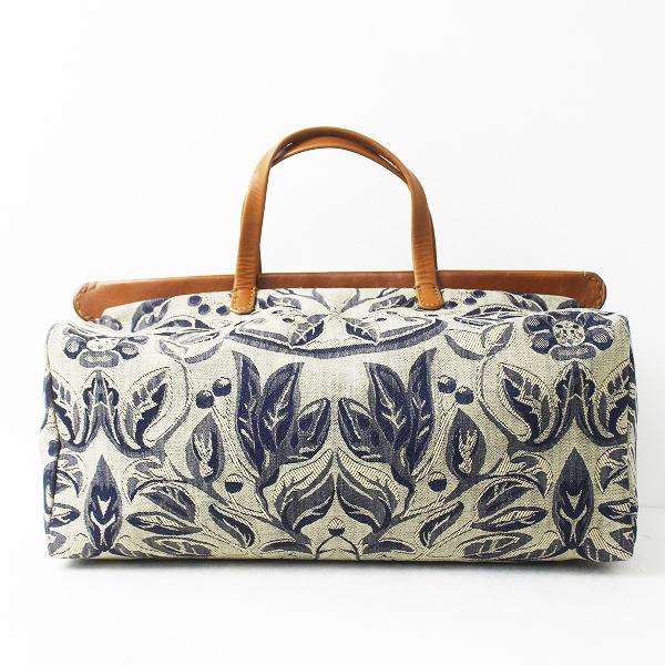45R フォーティーファイブ インディゴ 花柄織り ボストン バッグ/手提げ スクエア カバン 馬革 bag【2400011338037】
