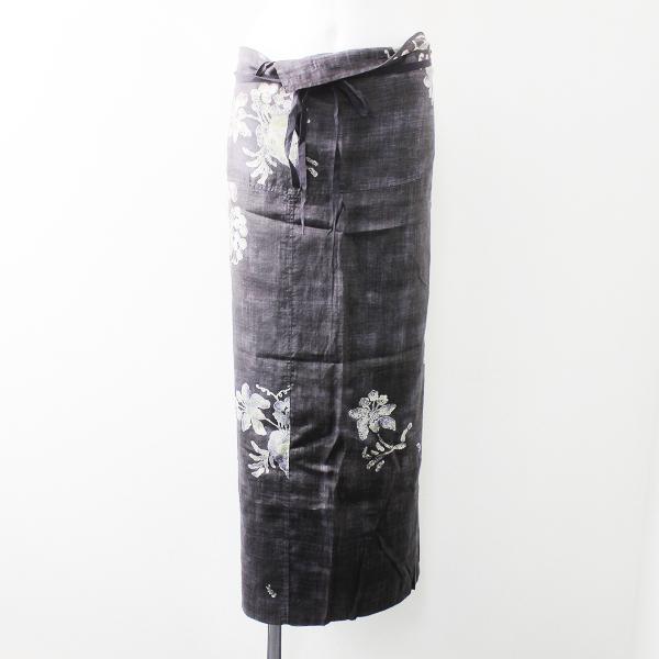45R フォーティーファイブ リネン 花柄 巻きスカート/グレー フラワー ラップスカート ウエストリボン イージー【2400011338075】
