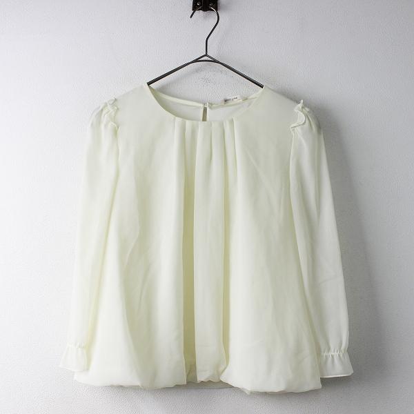 未使用 定価1.3万 Rose Tiara ローズティアラ バルーン裾 シフォン ブラウス 38/アイボリー トップス【2400011343192】
