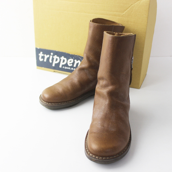 trippen トリッペン Deer camel サイドジップ レザー ブーツ 36/ブラウン 靴【2400011347213】